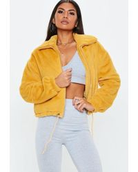 Missguided - Mustard Faux Fur Bomber Jacket - Lyst