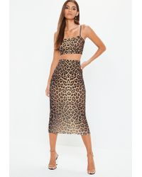 Missguided - Black Leopard Print Cami Top And Midi Skirt Co Ord Set - Lyst
