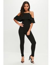Missguided - Black 90s Neck Frill Jumpsuit - Lyst