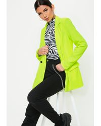Missguided - Neon Lime Tailored Long Blazer - Lyst