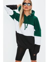 Missguided Green Oversized Colour Block Hoodie