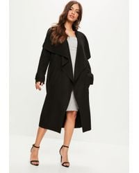 Missguided - Black Oversized Waterfall Duster Jacket - Lyst