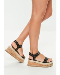 Missguided - Black Pin Stud Flatform Sandals - Lyst