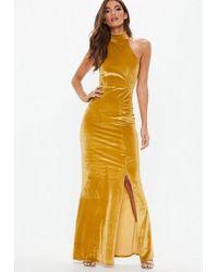 Missguided - Gold Velvet Choker Maxi Dress - Lyst