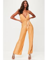 Missguided - Gold Slinky Wide Leg Jumpsuit - Lyst