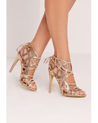 Missguided - Strappy Lace Back Heeled Sandal Gold - Lyst