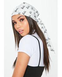 Missguided - Barbie X White Printed Satin Headscarf - Lyst