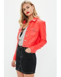 Missguided - Red Faux Leather Trucker Jacket - Lyst