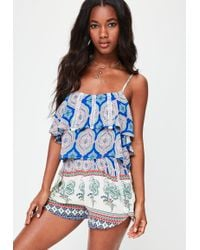 Missguided - Blue Paisley Print Shorts - Lyst