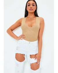 1ed68645fd Missguided - Camel Ultimate Plunge Knitted Sleeveless Ribbed Bodysuit - Lyst