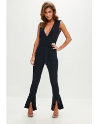 Missguided - Navy Flared Leg Tailored Jumpsuit - Lyst
