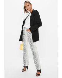 Missguided - Gray Denim Snake Print Straight Cropped Jeans - Lyst