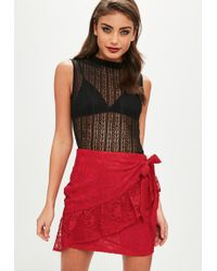 Missguided Red Lace Wrap Tea Skirt