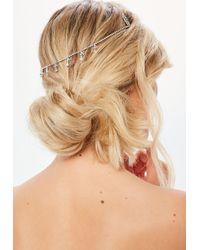 Missguided - Silver Diamante Droplet Hair Chain - Lyst