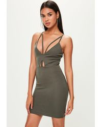Missguided - Green Strappy Scuba Bodycon Dress - Lyst