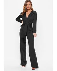 4f615026e83 Lyst - Missguided Wrap Front Shirt Playsuit Black in Black