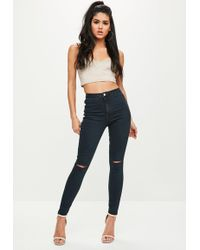 Missguided - Blue Vice High Waisted Slash Knee Skinny Jeans - Lyst