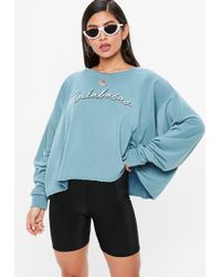 Missguided - Blue Calabasas Cropped Sweatshirt - Lyst