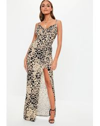 Missguided - Nude Leopard Print Thigh Split Cowl Neck Maxi Dress - Lyst