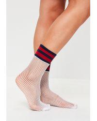 Missguided - White Sports Band Fishnet Socks - Lyst
