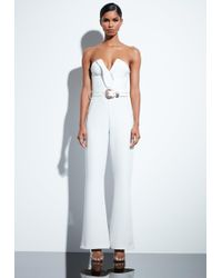 fd41867aefe Missguided Peace + Love White Lace Wide Leg Jumpsuit in White - Lyst