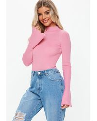 Missguided - Pink Flute Sleeve Knitted Bodysuit - Lyst