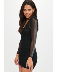 Missguided - Black Mesh Diamante Bodycon Dress - Lyst