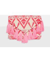 Missguided - Pink Aztec Tassel Clutch Bag - Lyst