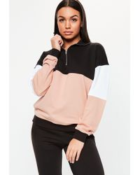 Missguided - Nude Zip Front Colour Block Contrast Co Ord Sweatshirt - Lyst