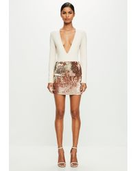 Missguided - Peace + Love Nude Long Sleeve Plunge Bodysuit - Lyst