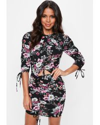 Missguided - Black Round Neck Floral Printed Ruched Dress - Lyst