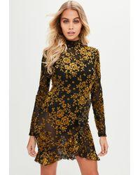 Missguided   Black Open Back Flocked Tea Dress   Lyst