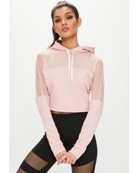 Missguided - Active Pink Mesh Panel Hoodie - Lyst
