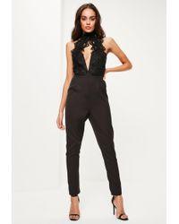 Missguided - Black Lace Applique High Neck Plunge Jumpsuit - Lyst