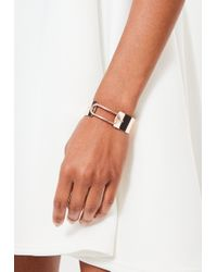 Missguided - Rose Gold Wide Metallic Bracelet - Lyst