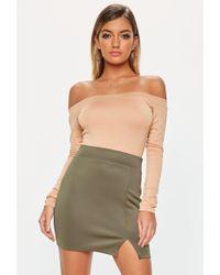 Missguided - Khaki Scuba Split Mini Skirt - Lyst