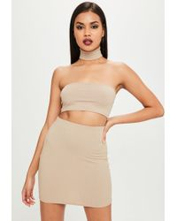 Missguided - Carli Bybel X Nude Ribbed Mini Skirt - Lyst