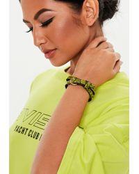 Missguided - Lime Green Snake Print Wrap Bracelet - Lyst