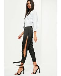 Missguided - Black High Shine Split Tie Detail Pants - Lyst