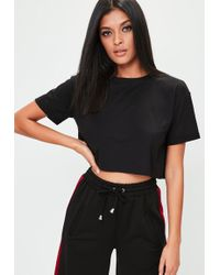 Missguided - Black Roll Sleeve Crop Top - Lyst