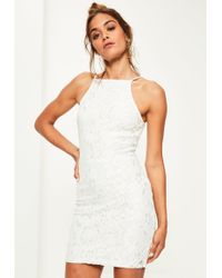 cc559f10af101 Lyst - Missguided Cold Shoulder Cross Back Swing Dress White in White