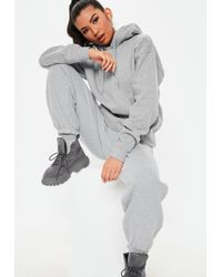Missguided - Grey Hooded Pocket Sweatshirt - Lyst
