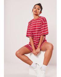Missguided - Red Stripe Short Sleeve T Shirt Dress - Lyst