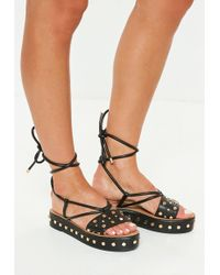Missguided - Black Flatform Studded Ankle Tie Sandals - Lyst