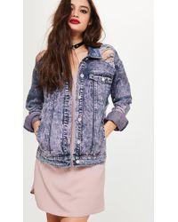 Missguided - Purple Ripped Drop Shoulder Denim Jacket - Lyst