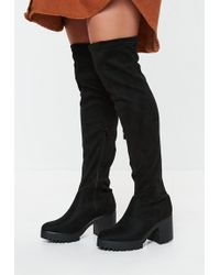 78de9b532ea8 Lyst - Missguided Black Faux Suede Over The Knee Boots in Black