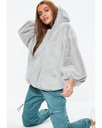 Missguided - Gray Faux Fur Hoodie - Lyst