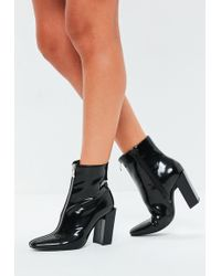 1fcae3b88fc7 Lyst - Missguided Peep Toe Perspex Block Heel Ankle Boot Black ...