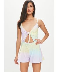 128067a2a630 Forever 21 Rainbow Striped Tie-front Romper in Blue - Lyst