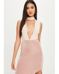 Missguided - Nude Ruched Choker Bodysuit - Lyst